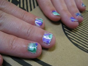 Water Marbling on a friend's nails.