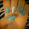 Grey, Silver, and Mint Nail Design