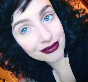 Anastasia brow pomade in ebony, Kat Von D studded lipstick in vampira, Too Faced better than sex mascara
