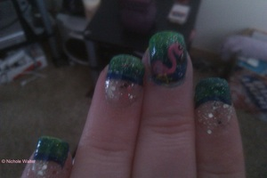inspired by love4nails on youtube , flamingo and blue and green background is acrylic paint.