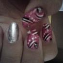 Pink, Black, White, Silver Nails