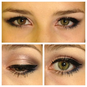 Shimmery purple on the lid with a darker purple in the crease. Deep blue smudged on the bottom and winged eyeliner