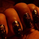 Charlotte Russe: Chunky Glitter (Gold) over Black Nail Polish