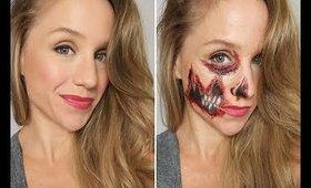 Slasher Face   Half Skull  Halloween Makeup