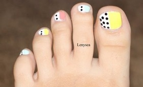 Easy Toe Nail Design for Beginners: Pastels and Polka Dots