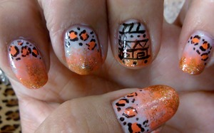 ombre nails, with tribal print