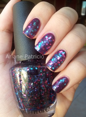 OPI Polka.com over China Glaze Urban Night.