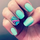 Mint Green wavy nails