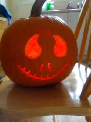 A pumpkin I carved with my boyfriend...no makeup but I did the design and I love it!  :)