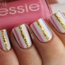 Gold, blue & pink stripes