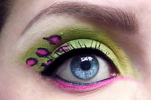 #pretty#pink#green#lepard#eyes