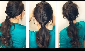 ★ HOW TO CREATE A HALF FRENCH FISHTAIL BRAID FANCY PONYTAIL   HAIRSTYLE TUTORIAL   MEDIUM LONG HAIR