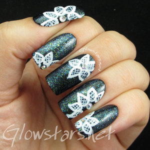 Read the blog post at  http://glowstars.net/lacquer-obsession/2015/06/lace-on-multichrome-flakies/