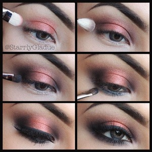 Check out Makeup by Starrly on facebook :)  Steps: 1. Apply a primer first, then MAC Coppering eyeshadow in the centre with #239 brush 2. Apply Twinks shadow on the inner & outer corners and blend with #217 brush 3. Shade in Carbon shadow in the centre of Twinks with #228 brush 4. Add black liner in the waterline and blend out with Carbon using #228 brush 5. Apply top liner (blacktrack), lashes (415 red cherry) & mascara!