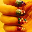 almond nails, rhinstone, colorful