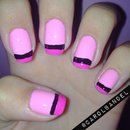 Pink french nails.