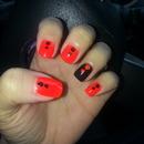 Orange and black mani