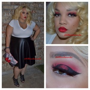 Follow me @Blondiemocha on Instagram for more looks!! ❤️❤️❤️       I began by using Urban Decay eyeshadow primer as a base.   Eyes -  Love + (Sugarpill, crease) Carbon (MAC Cosmetics , inner and outer lid) Eyeliner - Mac's Fluidline in black (to create the wing) Asylum (Sugarpill, center lid)  Brows - Anastasia Beverly Hill Brow Wiz in Soft Brown.   Lashes - Red Cherry 102 (2 pairs stacked)   Lips - Ruby Woo with Cherry Lip Liner (MAC Cosmetics)   Clothing -  Shirt - Target Skirt - Torrid  Shoes - Torrid