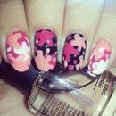 Pink splatter nails