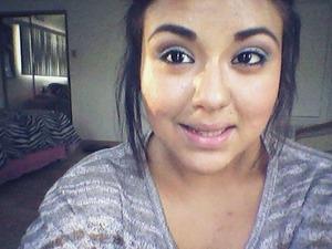 Dark Brown and Peach Eyeshadow w/ a Lime Green Cat Eye.