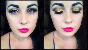 Gold glittery eyes with dramatic lips x
