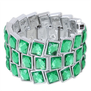 Personalized Elastic Three Rows Crystal Wide Bangle Bracelet