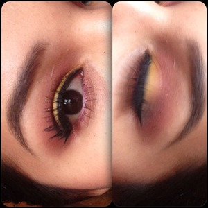 Got bored so I did this make up .. Yellow with pink ..