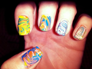 Fun summer water marble nails with out water. Quick and Easy to do.