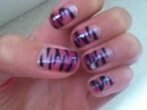 Purple gradient zebra print nails