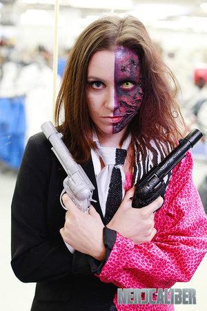 """Gender bent Batman Villain's """"Two-Face""""  Photo: Nate Buchman Photography  Model: Beth Marsh  #batman #twoface #makeup #specialfx #halloween #halloween #costume #genderbent #cosplay"""