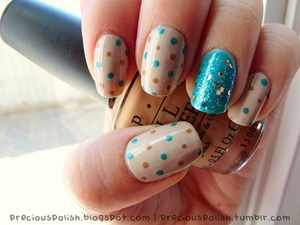 cute polka dots with a vibrant turquoise glitter accent.
