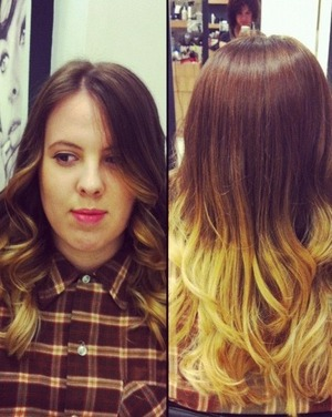 From avrg brown hair to intense ombré on one of my clients