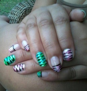 Base-  White by L.A. Colors Teal, Green, Fushia, Baby Pink - Acrylic Paint Black, Silver Glitter - Kiss Nail Art
