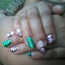 Green/Teal & Fushia/Baby Pink Tiger Stripe