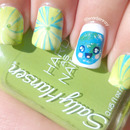 Water Marble Kawaii Earth Day Nail Art