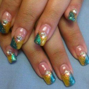 "Yellow & light blue [ Sally Hansen Polish ] With ""Swarovski beads"""