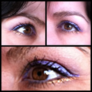 Blue pencil on the lid and the waterline, gold liner under thelower lashline and black mascara.