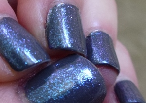 CND Asphalt + CND Sapphire Sparkle