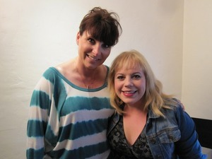 Kirsten Vangsness and I on the set of Vampire Mob - Department Head