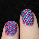 Pink and blue glotter nails :)