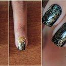 Unha Preto e Dourado Luxo