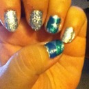 glitter and braided nails