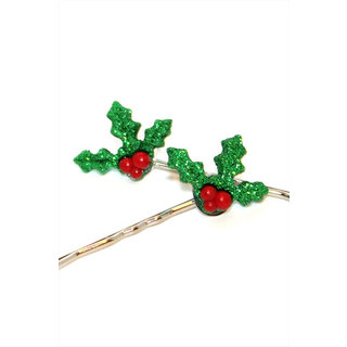 Etsy Bobby Pins Glitter Holly Mistletoe for Winter Christmas Holidays