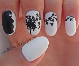 Tutorial on : http://claudiacernean.blogspot.ro/2013/08/unghii-cu-papadie-dandelion-nails.html