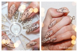 """♡ Products I used ♡ Nr. M124 by f.flormar """"blackout"""" (Nr. 677) by Maybelline New York (black) Gold glitter from 100 Yen store mixed wiht clear nail polish Rhinestones from Studio- nail Cross from Nail Supply Base and top coat"""