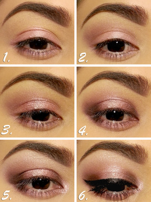 1. Apply primer from lid to browbone & NYX Jumbo Eye Pencil in Strawberry Milkshake to lid and lower lash line. 2. Apply Limit to crease & Nooner to darken. 3. Apply Dust to middle of lid & Burnout to either side of Dust. 4. Apply Darkside to both edges of lid, slightly blending into the crease, and to outer corner of lower lash line. 5. Apply Burnout to rest of lower lashline, apply Dust to inner corner over LA Splash Eyeshadow Sealer Base, & highlight browbone with Strange. 6. Apply eyeliner and mascara, & done!
