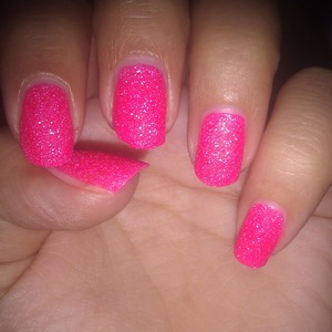 sugar nails in hot pink done with Holiday nailpolish from Golden Rose