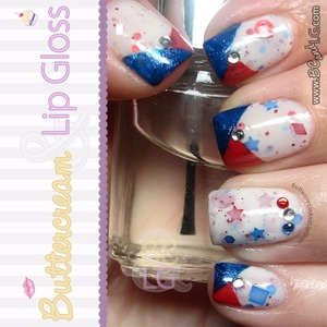 4th of July Mani  For more info see: http://www.buttercreamandlipgloss.com/2013/07/notw-4th-of-july-mani.html
