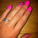 Pink Mani with cross detail