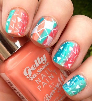 Created with all barry m gelly high shine polishes and pueen and konad stamping plates